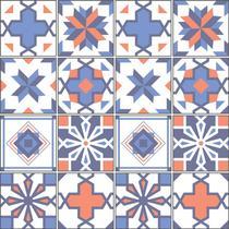 Adesivo de Azulejo - Ladrilho Hidráulico - 10cm x 10cm - 16un - 331Azpe - Allodi