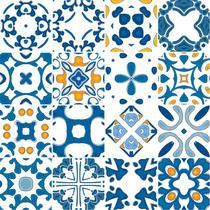 Adesivo de Azulejo - Ladrilho Hidráulico - 10cm x 10cm - 16un - 373Azpe - Allodi