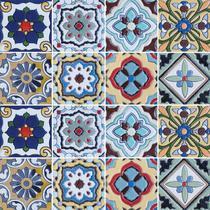 Adesivo de Azulejo - Ladrilho Hidráulico - 15cm x 15cm - 16un - 317Azme - Allodi