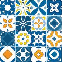 Adesivo de Azulejo - Ladrilho Hidráulico - 15cm x 15cm - 16un - 371Azme - Allodi
