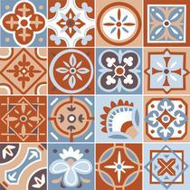 Adesivo de Azulejo - Ladrilho Hidráulico - 20cm x 20cm - 16un - 342Azge - Allodi