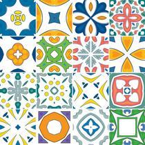 Adesivo de Azulejo - Ladrilho Hidráulico - 20cm x 20cm - 16un - 383Azge - Allodi