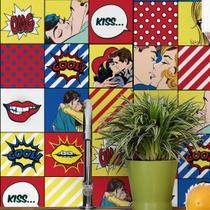 Adesivo de Azulejo Vintage Pop Art 15x15 para Cozinha 36un - Quartinhos