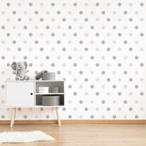 Adesivo de Bolinhas Rosa Bebê e Cinza 4cm 144 un Cobre 3m² - Quartinhos