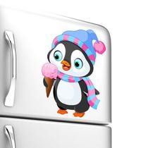 Adesivo de Geladeira Pinguim com Sorvete 25x18 cm - Quartinhos