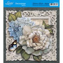 Adesivo de Papel para Decoupage Litoarte 20 x 20 cm - Modelo DA20-013 Peônias e Hortências -