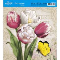 Adesivo de Papel para Decoupage Litoarte 20 x 20 cm - Modelo DA20-015 Tulipas Coloridas -