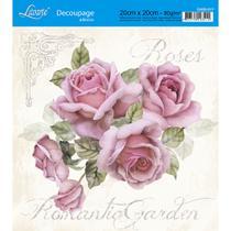 Adesivo de Papel para Decoupage Litoarte 20 x 20 cm - Modelo DA20-017 Rosas Shabby Chic