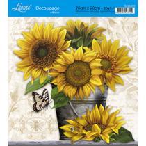 Adesivo de Papel para Decoupage Litoarte 20 x 20 cm - Modelo DA20-018 Girassóis -