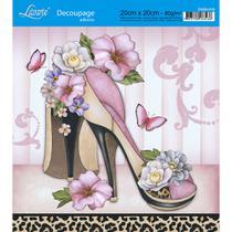 Adesivo de Papel para Decoupage Litoarte 20 x 20 cm - Modelo DA20-019 Sapato com Flores -