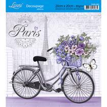 Adesivo de Papel para Decoupage Litoarte 20 x 20 cm - Modelo DA20-020 Bicicleta com Flores -