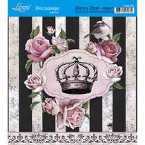 Adesivo de Papel para Decoupage Litoarte 20 x 20 cm - Modelo DA20-021 Rosas com Flores -