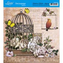 Adesivo de Papel para Decoupage Litoarte 20 x 20 cm - Modelo DA20-022 Gaiola com Flores -