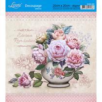Adesivo de Papel para Decoupage Litoarte 20 x 20 cm - Modelo DA20-026 Vaso com Flores -