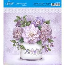 Adesivo de Papel para Decoupage Litoarte 20 x 20 cm - Modelo DA20-030 Flores Açucareiro -