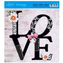 Adesivo de Papel para Decoupage Litoarte 20 x 20 cm - Modelo DA20-035 Love Preto e Branco -