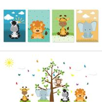 Adesivo de Parede Arvore Safari e Placas Decorativas Kit Decoração - Quartinhos