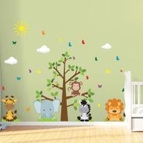 Adesivo de Parede Árvore Safari Infantil para Quarto - Quartinhos