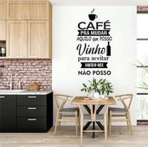 Adesivo de Parede Cantinho do café - Frase café e Vinho - Ra Personalize