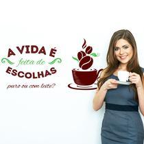 Adesivo de Parede Cozinha Café Escolhas - Quartinhos