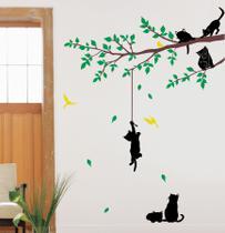 Adesivo De Parede Decorativo Gatos Brincando Na Arvore Colorido lindo para sua sala e quarto - Gaudesivos