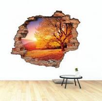 Adesivo de parede efeito 3D buraco na parede Paisagem Árvore Colou tá Colado -