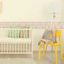 Adesivo de Parede Faixa Decorativa Infantil Flores e Borboletas 6mx15cm - Quartinhos