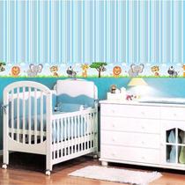 Adesivo de Parede Faixa Decorativa Kit com 6 Para Quarto Infantil Safari - Decore Fácil