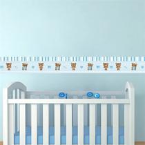 Adesivo de Parede Faixa Decorativa Para Quarto Infantil Ursinho Azul - Decore Fácil