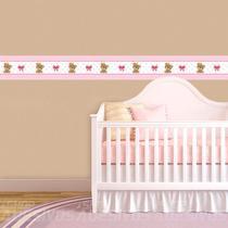 Adesivo de Parede Faixa Decorativa Para Quarto Infantil Ursinho Princesa - Decore Fácil