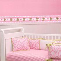 Adesivo de Parede Faixa Decorativa Para Quarto Infantil Ursinho Rosa - Decore fácil