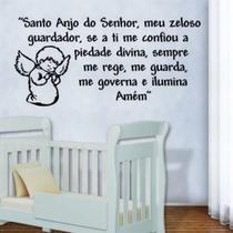 Adesivo De Parede Frase Santo Anjo Quarto Pequeno - Mr Decorações / Paradecoração