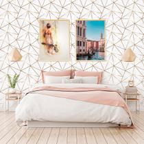 Adesivo De Parede Geométrico Fendi Zara Gold Fundo Textura Tons de Cinza 310x58cm - PPDGE225 - Papeldeparededigital