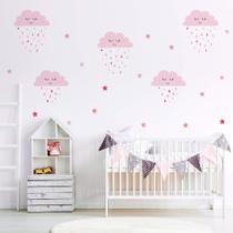 Adesivo de Parede Infantil Chuva de Amor Rosa - Quartinhos