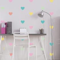 Adesivo de Parede Infantil Coração Colorido tons Pastéis - Quartinhos