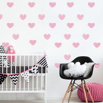 Adesivo de Parede Infantil Coração Rosa Chevron - Quartinhos