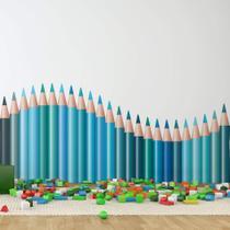 Adesivo de Parede Infantil Lapis de Cor Onda tons de Azul - Quartinhos