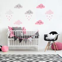 Adesivo de Parede Infantil Nuvens Chevron Rosa - Quartinhos
