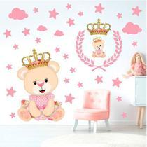 Adesivo De Parede Infantil Ursinha Princesa Estrelas Nuvens - ADC