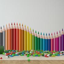 Adesivo de Parede Lapis de Cor Onda Colorida 120x52cm - Quartinhos