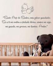Adesivo De Parede Oração Santo Anjo Da Guarda Quarto Bebê - Aartedecor