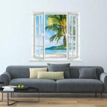 Adesivo de Parede paisagem praia na janela - Meu Adesivo