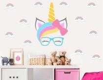 adesivo de parede unicrnio culos lao kit arcoiris - Senhorita Decor