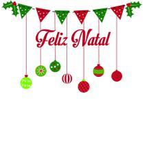 Adesivo de Porta Decoração Natal Frase Feliz Natal - Quartinhos