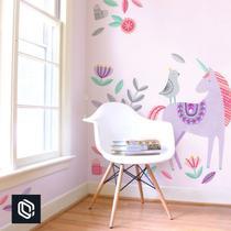 Adesivo decoração de parede flores pássaro unicórnio grande - Conspecto