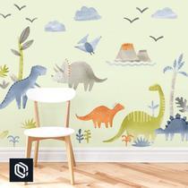 Adesivo decoração de parede floresta dinossauros variados - Conspecto