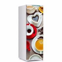 Adesivo decorativo de Geladeira porta chicara de café coração 150x60cm - Sunset Adesivos