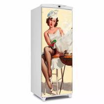 Adesivo decorativo de Geladeira porta Pin up churrasco 150x60cm - Sunset Adesivos