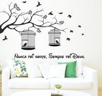 Adesivo Decorativo de Parede Árvore Com Gaiolas e Frase - Gaudesivos