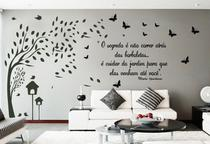 Adesivo Decorativo de Parede Arvore Galhos e Frase com Borboleta e pássaros - Gaudesivos